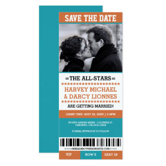 Orange u. blaue Sport-Karte Save the Date 10,2 X 23,5 Cm Einladungskarte