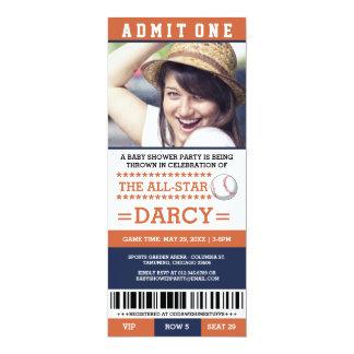 Orange und blaues Baseball-Baby-Duschen-Party lädt 10,2 X 23,5 Cm Einladungskarte