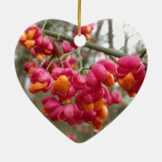 Orange und rosa Wahoo-Bush-Beeren Keramik Ornament
