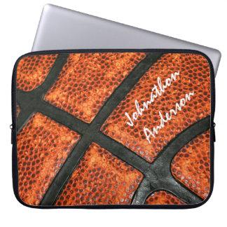 Orange und schwarzes Basketball-Muster mit Computer Sleeve Schutzhülle