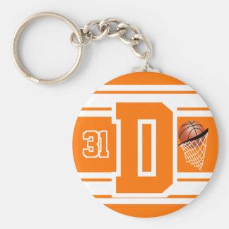 Orange und weißer Basketball-Buchstabe und Zahl Schlüsselanhänger
