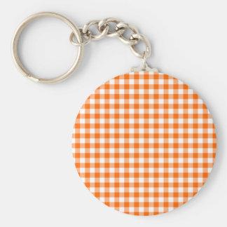Orange und weißer Gingham Schlüsselanhänger