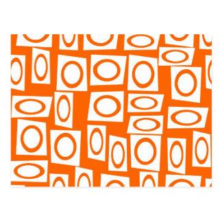 Orange und weißes Spaß-Kreis-Quadrat-Muster Postkarte