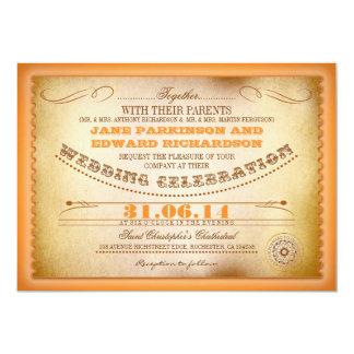 Orange Vintage Hochzeitseinladungen - Karten 12,7 X 17,8 Cm Einladungskarte