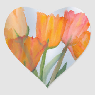 Orange Zitrusfrucht-Tulpen Herz-Aufkleber