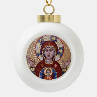 Oranta Mutter der Gott-Ikonen-Weihnachtsverzierung Keramik Kugel-Ornament