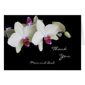 Orchideen-Hochzeit danken Ihnen, zu den Eltern zu Karte