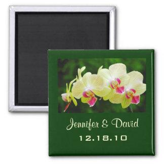 Orchideen-Hochzeits-Magnet Quadratischer Magnet