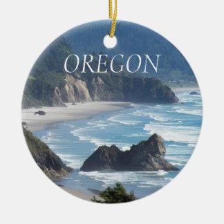Oregon-Küstenlinien-Foto-Keramik-Verzierungen Rundes Keramik Ornament