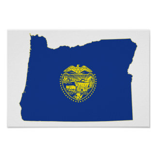 Oregon-Staats-Flagge und Karte Poster