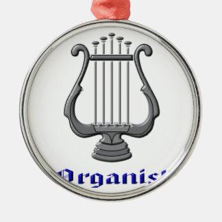 Organist Rundes Silberfarbenes Ornament