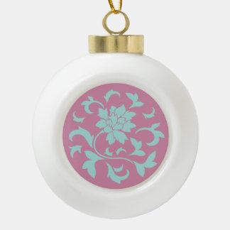 Orientalische Blume - Limpet-Muschel - Rosa Keramik Kugel-Ornament