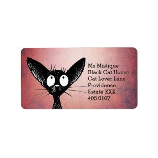 Orientalische Shorthair schwarze Katze Adressaufkleber