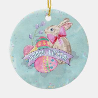 Osterhase, Eier und Confetti ID377 Rundes Keramik Ornament