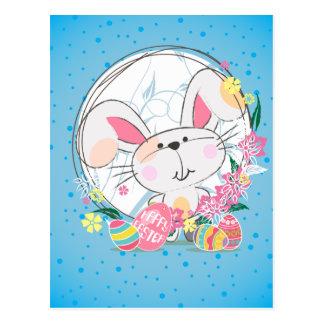 Osterhase mit verzierten Eiern und Frühlings-Blume Postkarte