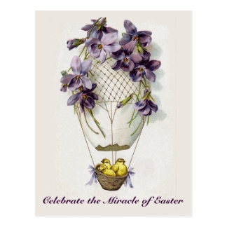 Osterlilien-Ballon-Vintage Postkarte