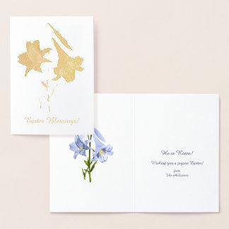 Osterlilien-Blumenstrauß Folienkarte
