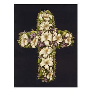 Osterlilien-Kreuz Postkarte