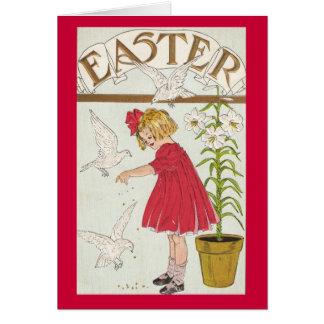 Osterlilien-Mädchen Karte