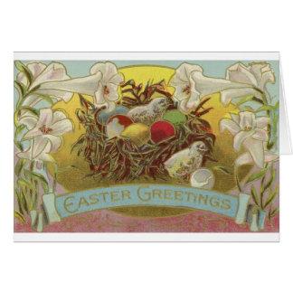 Osterlilien und Küken Karte