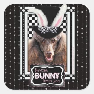 Ostern - etwas Häschen-Lieben Sie - Pudel - Schoko Quadrataufkleber