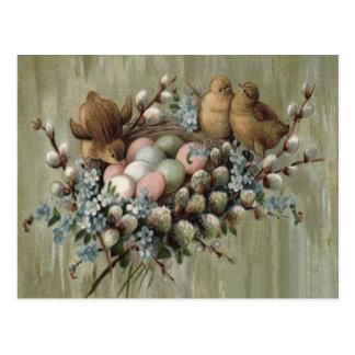 Ostern-Küken-Nest farbige Ei-Vergissmeinnichte Postkarte