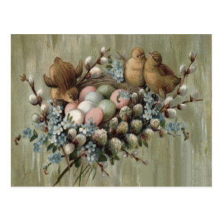 Ostern-Küken-Nest farbige Ei-Vergissmeinnichte Postkarten