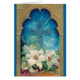 Ostern mit Kreuz und Lilien Karte