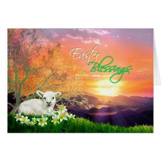 Osternlamm und -sonnenaufgang mit Osterlilien Karte