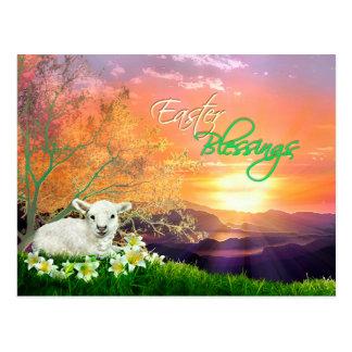 Osternlamm und -sonnenaufgang mit Osterlilien Postkarte