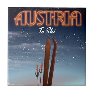 Österreich, zum - Winterski-Reiseplakat zum A Ski Keramikfliese