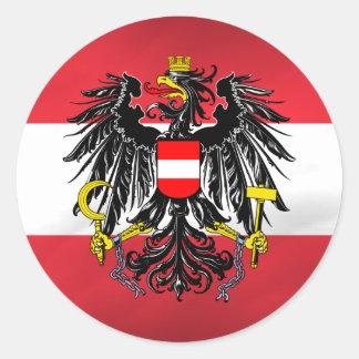 Österreichische Flagge u. Wappen Runder Aufkleber