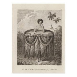 Otaheite Frau, Tahiti Postkarte