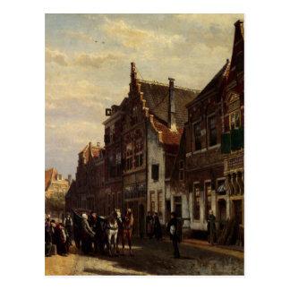 Oudewater Straße am Sommer durch Cornelis-Springer Postkarte