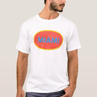 Ovaler Entwurf des weißen Aqua Miami-Leuchtorange T-Shirt