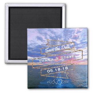 Ozean-Sonnenuntergang-romantische Strand-Hochzeit Quadratischer Magnet