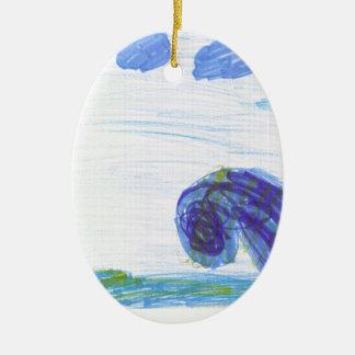 Ozean-Welle Ovales Keramik Ornament