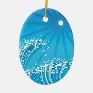 Ozean-Wellen Ovales Keramik Ornament
