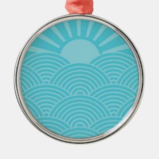Ozean-Wellen Rundes Silberfarbenes Ornament