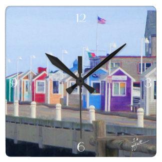 P-Stadtkabinen-einzigartiges künstlerisches Quadratische Wanduhr