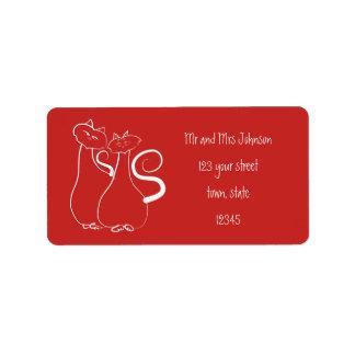 Paar-Adressen-Etikett Katzen-Rot Minimalistic Adressaufkleber