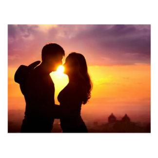 Paar-Silhouette am Sonnenuntergang Postkarte
