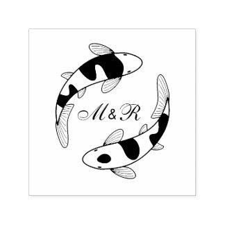 Paare des Japaner Koi Fisch-Hochzeits-Monogramms Permastempel