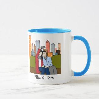 Paare, die selfie- personalisierte Cartoon-Tasse Tasse