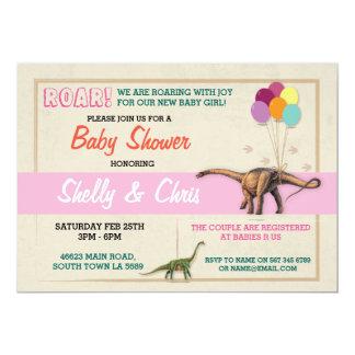 Paare Dinosaurier-, denBabyparty es ein Mädchen 12,7 X 17,8 Cm Einladungskarte