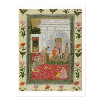 Paare mit weiblichen Begleitern und Musikern Postkarte