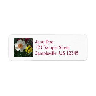 Paare Narzissen rosa und gelbe Frühlings-Blumen Rückversand-Adressaufkleber