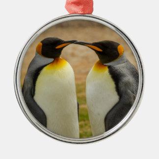 Paare von König Pinguine, Falkland Silbernes Ornament