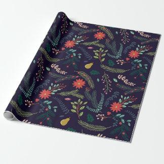Packpapier - klassisches Blumen auf Blau