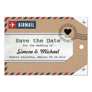 Packpapier-Luftpost-Gepäck-Umbau retten die Daten 8,9 X 12,7 Cm Einladungskarte